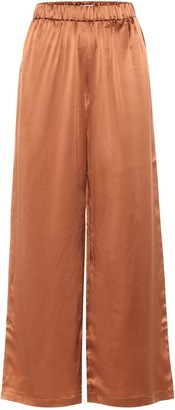 Co High-rise wide-leg silk charmeuse pants