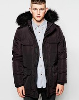 Bellfield Parka With Faux Fur Hood - Black