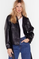 Nasty Gal Womens Faux Leather Knew Love Belted Jacket - black - 12