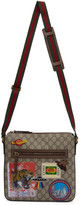 Gucci Beige and Brown GG Supreme Patches Courier Messenger Bag