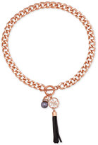 GUESS Rose Gold-Tone Crystal, Gray Imitation Pearl and Imitation Suede Tassel Pendant Necklace