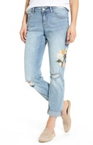 Women's Caslon Ripped & Floral Embroidered Straight Leg Jeans