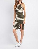 Charlotte Russe Striped Bib Neck Bodycon Slit Dress