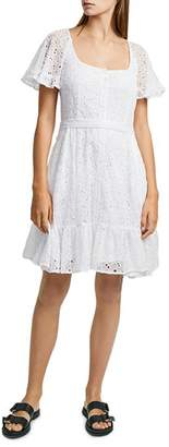 French Connection Circeela Embroidered Eyelet Mini Dress