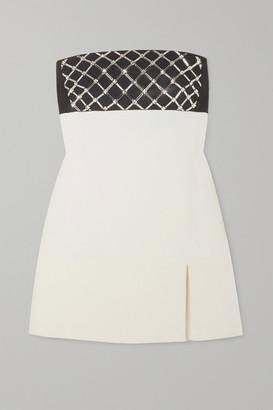 David Koma Strapless Crystal-embellished Cady Mini Dress - White