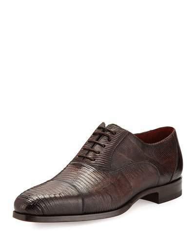 Magnanni Lizard Cap-Toe Oxford Shoe, Medium Brown