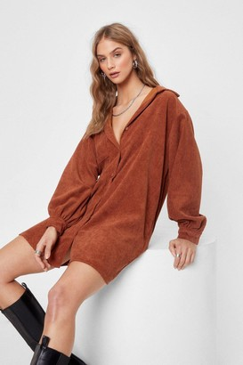 Nasty Gal Womens We'll Just Be a Mini Corduroy Shirt Dress - Chocolate