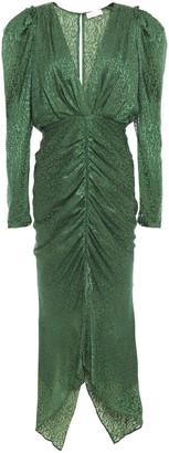 Ronny Kobo Ruched Leopard-print Devore-chiffon Midi Dress