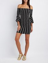 Charlotte Russe Striped Off-The-Shoulder Bodycon Dress