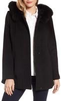 Sachi Women's Genuine Fox Fur Trim Hooded Wool Blend Coat