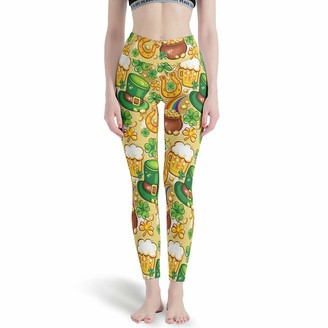 Gamoii Women's Yoga Leggings Happy St Patrick Day Print Sports Trousers Yoga Trousers High Waist Stretchy Leggings Trousers - White - XX-Large