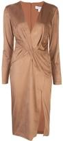Cushnie twist detail front slit dress