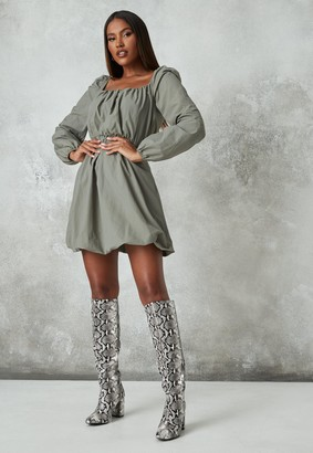 Missguided Charcoal Ruched Puff Ball Mini Dress