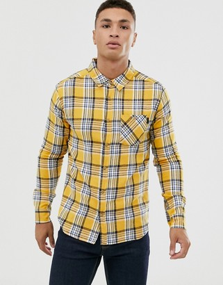 Soul Star fitted check shirt with pocket-Yellow