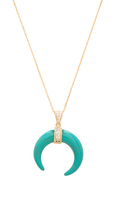 joolz by Martha Calvo Turquoise Crescent Moon Necklace in Metallic Gold.