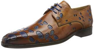 Melvin & Hamilton MH HAND MADE SHOES OF CLASS Men's Lewis 8 Derbys, (Multicolour Crust Underlay-Electric Blue-Lining-Rich Tan-Insole Leather-Lslorangeg + Yellow), UK