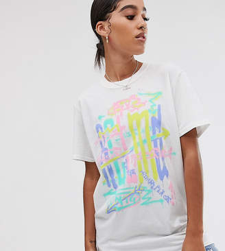 Reclaimed Vintage inspired t-shirt with logo spray print-White