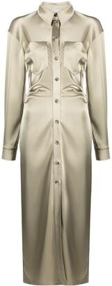 Nanushka Tuck-Detail Satin Shirt-Dress