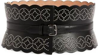 Alaia Studded Leather Arabesque Corset Belt