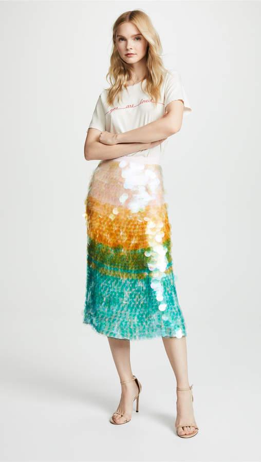 Cynthia Rowley Adelai Cascade Sequined Skirt