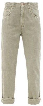 Brunello Cucinelli Faded Cotton Straight-leg Jeans - Light Green