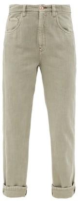 Brunello Cucinelli Faded Cotton Straight-leg Jeans - Light Green