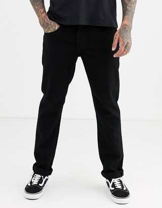 True Religion rocco slim jean with back pocket stitch detail in black