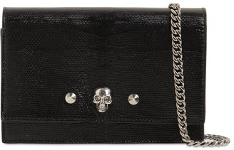 Alexander McQueen Skull & Stud Lizard Embossed Leather Bag