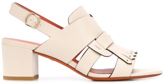 Santoni Fringed Slingback Sandals