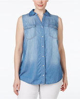 INC International Concepts Plus Size Split-Back Denim Shirt, Only at Macy's