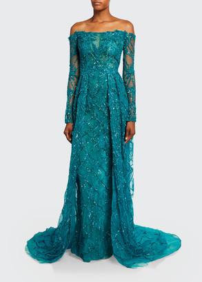 Pamella Roland Off-the-Shoulder Beaded Gown