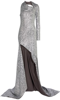 Monse One-shoulder sequinned gown