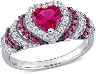 Delmar Black Rhodium Plated Sterling Silver Heart Shape Created Ruby & Created White Sapphire Ring