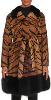 Gorski Tiger-Print Lamb Fur Jacket with Mink Trim