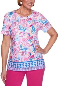 Alfred Dunner Laguna Beach Umbrella-Print Border Knit Top