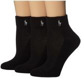 Lauren Ralph Lauren Cushion Foot Mesh Top Cotton Quarter 3 Pack Women's Quarter Length Socks Shoes