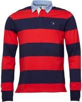Gant Mens Barstripe Heavy Rugger Shirt Bright Red