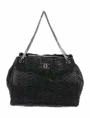 Chanel Python Accordion Tote Black