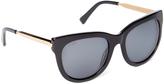 Black & Goldtone Square Sunglasses