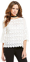Gianni Bini Terry Embroidered Applique Elbow-Sleeve Blouse
