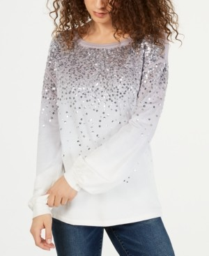 INC International Concepts Inc Dip-Dyed Sequin Sweatshirt, Created for Macy's