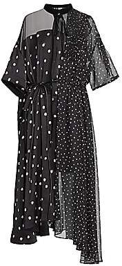 Sacai Women's Mixed Polka Dot Chiffon Dress