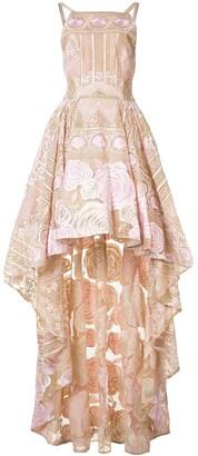 Marchesa Notte Asymmetric Hem Floral Dress