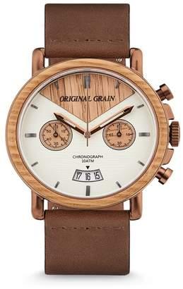 ORIGINAL GRAIN Men's Alterra Chronograph Leather Strap Watch, 44mm
