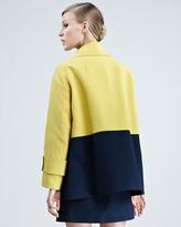 Paule Ka Colorblock Pique-Knit Coat