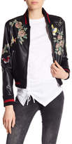 Dex Patch and Print Detailed Faux Leather Bomber Jacket
