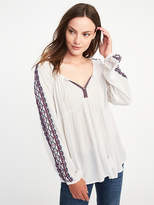 Old Navy Embroidered Tassel Swing Blouse for Women