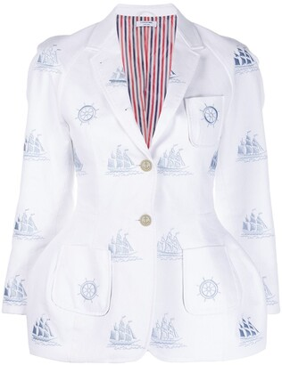 Thom Browne Nautical Pattern Flared Jacket