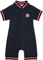 Moncler Stretch Pique Polo Shortall, Navy, Size 3-18 Months
