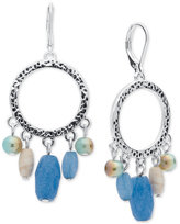 Nine West Silver-Tone Blue Bead Gypsy Hoop Earrings